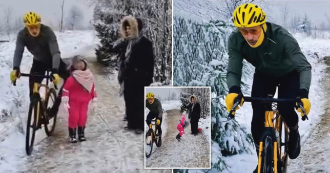 Footage shows the cyclist floor the child as he goes past