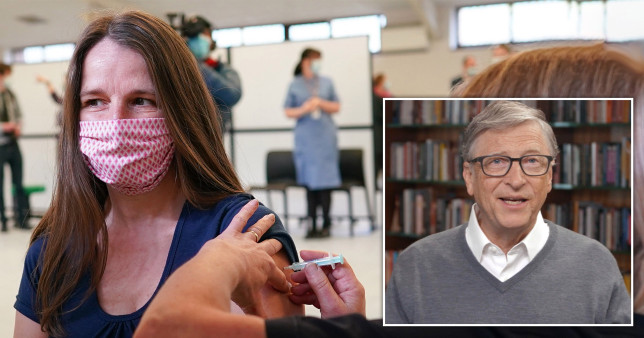 A woman receives her vaccination as Microsoft founder Bill Gates predicts the world won't be back to normal until 2022