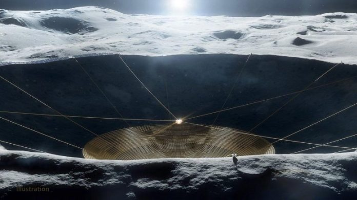 Conceptual Radio Telescope Within a Crater on the MoonConceptual Radio Telescope Within a Crater on the Moon