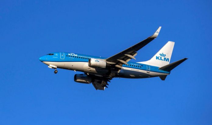 An aircraft in KLM livery