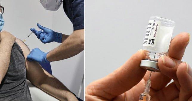 Pictures of someone receiving Oxford/ AstraZeneca vaccine