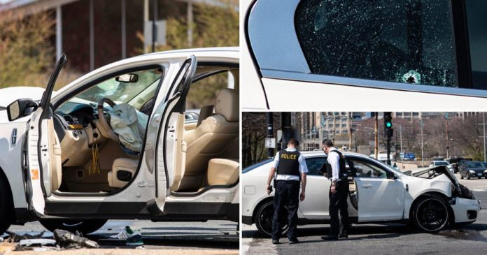 A damaged car after a shooting in Chicago.