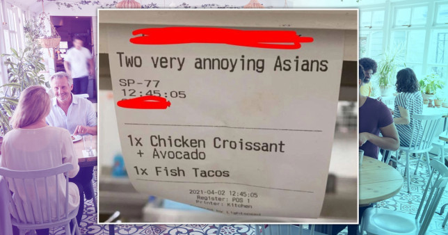 Cafe manager shares receipt labelling customers 'two annoying Asians'