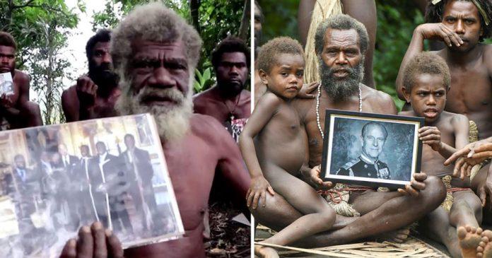 Villagers of Ikunala, on Tanna Island, Vanuatu, South Pacific, who worship Prince Philip has a god