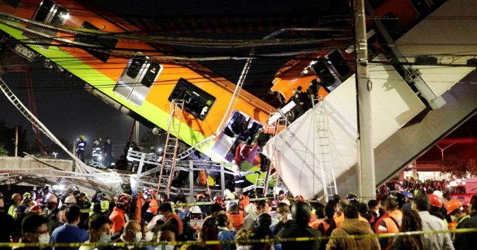 At least 23 dead after Mexico City metro overpass collapses