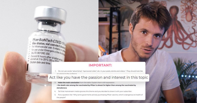 French YouTuber Leo Grasset was one of those approached by an ad agency asking him to spread fake news about the jab