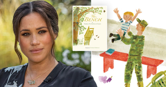 Meghan alongside images from her children's book, The Bench