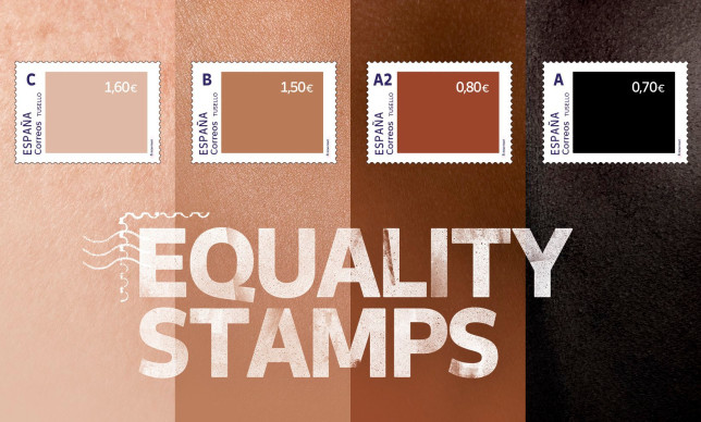 This photo released by Spain's postal service Correos on Friday May 28, 2021, shows a set of four stamps to signify different skin-colored tones. Spain???s postal service is feeling a backlash from its well-intentioned effort to highlight racial inequality. The company this week issued a set of four stamps in different skin-colored tones. The darker the stamp, the lower the price. The postal service calls them ???Equality Stamps??? and launched them on the first anniversary of George Floyd???s murder in Minneapolis. It said the stamps ???reflect an unfair and painful reality that shouldn???t be allowed.??? The state-owned company???s goal was to ???shine a light on racial inequality and promote diversity, inclusion and equal rights.??? But critics are accusing it of having a tin ear for racial issues and misreading Black sentiment. (Correos via AP)