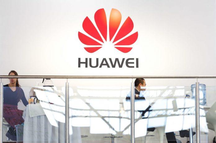 A Huawei logo at Broadband World Forum in Amsterdam