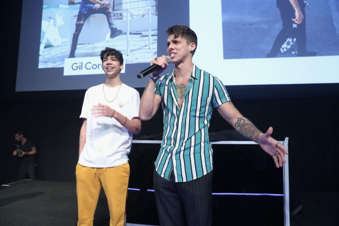 Gil Croes (right) and Jay Croes speak onstage at TikTok's US launch celebration