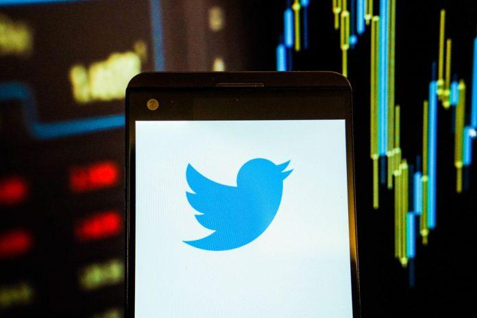Twitter logo on a smartphone screen