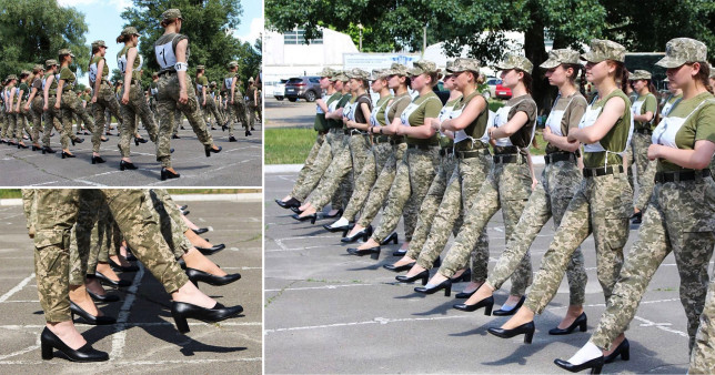 'Sexist' pictures of female soldiers in Ukraine rehearsing for a military parade wearing heels