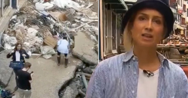 German TV reporter Susanna Ohlen was caught on camera appearing to smear herself in mud before filming a report in the flood devastated town of Bad Munstereifel, Germany.