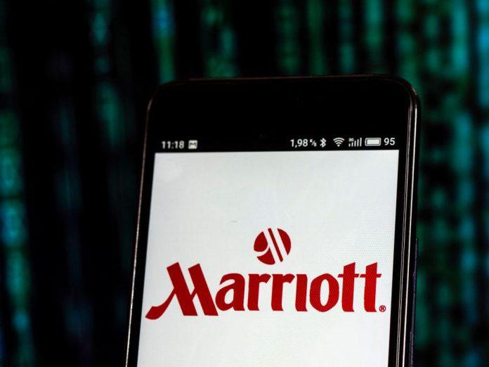 Marriott International logo seen displayed on smart phone.