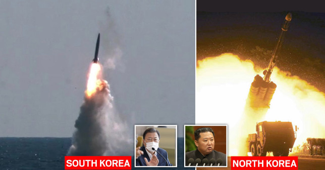 north and south Korea test missiles